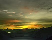 黄昏晚霞云彩山峰自然美景摄影图片