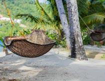 海滩边椰子树上的吊床风光摄影图片