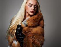 穿皮草大衣的金色长发美女摄影图片