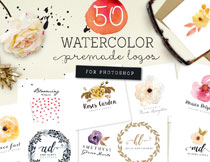 多种用途水彩元素图案主题PSD素材