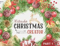 圣诞球等圣诞节水彩元素PSD素材