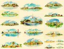 水彩效果世界多国著名建筑矢量素材