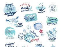 鱼虾贝壳与清凉夏日等水彩矢量素材