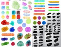 黑白与彩色效果水彩图案矢量素材