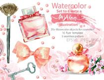 口红与香水瓶等水彩化妆用品矢量素材