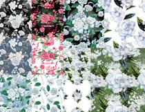 四方连续水彩花朵图案背景矢量素材
