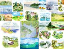 水彩风格自然风景主题创意矢量素材