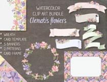 水彩花朵装饰的飘带等主题免抠素材