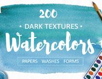 100余款水彩元素与纹理背景主题素材