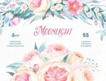 水彩风格花朵边框主题免抠图片素材