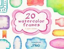 20款水彩边框背景主题PNG素材