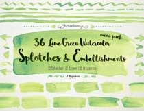绿色水彩手绘风箭头等元素高清图片