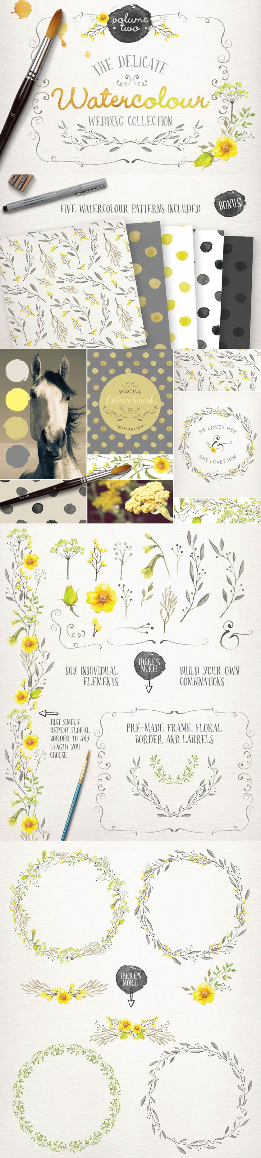 素材免抠图片透明背景水彩手绘鲜花花朵花卉植物花边花环边框无缝图案