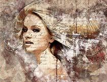 超酷的人像涂鸦艺术背景效果PS动作