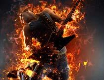 人像添加火焰火苗燃烧效果PS动作