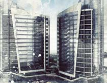 建筑物转逼真素描铅笔画效果PS动作