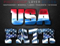 创意的国旗主题风格字体PS样式V1