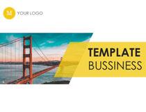 黄色简洁风格的商务PPT模板