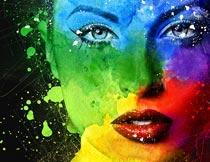 人像添加彩色喷溅背景特效PS动作