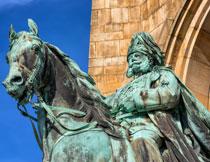 德皇威廉人物铜像特写摄影高清图片