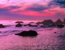 天空晚霞海面自然风光高清图片