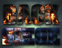 战争火焰主题的艺术字PS样式V3