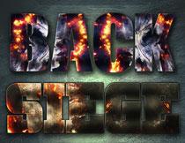 战争火焰主题的艺术字PS样式V4
