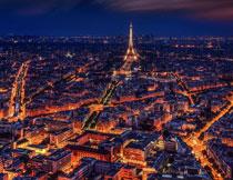 法国巴黎城市夜景风光高清图片