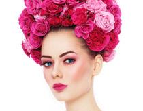 红唇妆容美女写真摄影高清图片