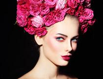 蓝眼红唇美女人物摄影高清图片