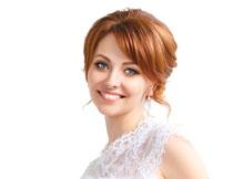 满脸幸福笑容的新娘摄影高清图片