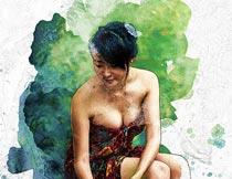 水彩人像和涂鸦背景特效PS中文动作