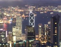 香港繁华城市夜景摄影高清图片