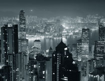 俯瞰视角香港夜景摄影高清图片