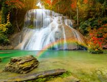 湖畔瀑布树林美景摄影高清图片