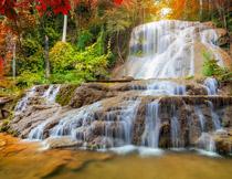 茂密树林中的瀑布摄影高清图片