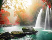 瀑布与青苔乱石等摄影高清图片