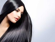 顺滑黑发美女人物摄影高清图片