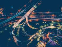 繁华城市夜景鸟瞰摄影高清图片