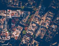 航拍视角城市住宅摄影高清图片