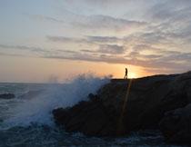 落日余晖海岸风光摄影高清图片