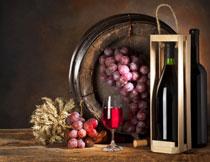 麦穗葡萄与葡萄酒摄影高清图片