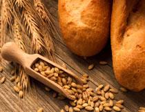 面包麦穗与小麦粒摄影高清图片