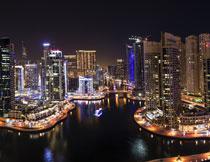 迪拜繁华城市夜景摄影高清图片