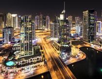 白昼般的城市夜景摄影高清图片