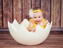 蛋壳里的可爱宝宝摄影高清图片
