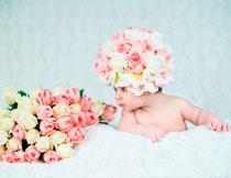 小宝宝与鲜花特写摄影高清图片