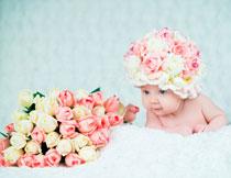 盯着鲜花看的宝宝摄影高清图片