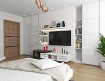 卧室房间置物架与电视高清图片