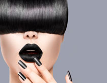 黑色唇妆美女模特摄影高清图片